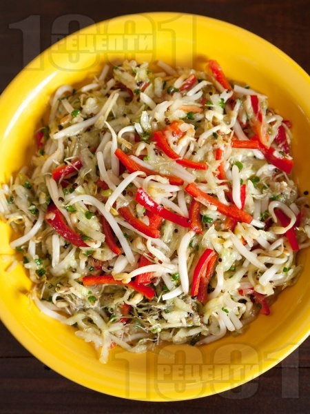 Салата от соеви кълнове, краставица и чушки - снимка на рецептата